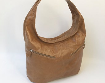 Brown Leather Hobo Bag with Pockets, Women Handbag, Fashion Stylish Bags, Trendy Purse, Aly
