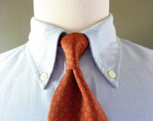 Vintage POLO by Ralph Lauren 100% Silk Autumnal Foulard Patterned Trad / Ivy League Neck Tie.  Made in USA.