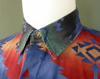 RARE Vintage Polo by Ralph Lauren PRL Indian / Native American / Navajo Print Casual Chore Work Shirt L 16 - 35.