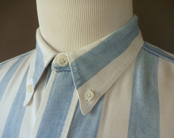 Vintage Eddie Bauer 100% Cotton Blue & White Awning Striped Trad / Ivy League Casual Short Sleeved Work Shirt Size Medium.  Made in USA.