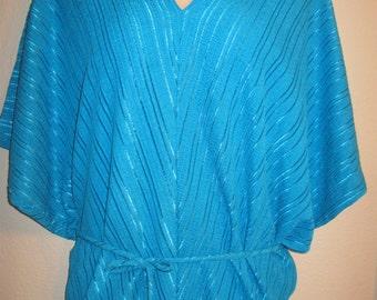 TURQUOISE CAFTAN PANTSET - 1980's Pant Set - Woman's Pant Set - Charlotte Russe