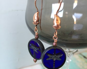 Etched Glass Cobalt Dragonfly Earrings - Etched Czech Glass Earrings - Cobalt Blue and Copper Earrings