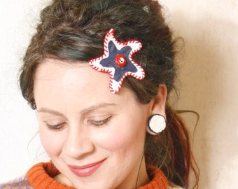 Star hair clip Leather hair clip Gift for her White hair clip Holiday hair Kids hair clip Denim hair accessory Blue white hair clip