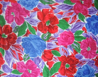 Vintage 1980s cotton sateen decor fabric Hoffman California large print floral flowers 44 inches wide