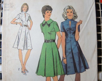 vintage 1970s simplicity sewing pattern 5181 misses dress size 14