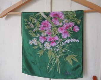 Vintage 1970s Vera scarf silk green with pink flowers 11 x 48 inches