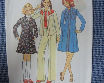 vintage 1970s simplicity sewing pattern 7278 Girls dress or shirt and pants size 12