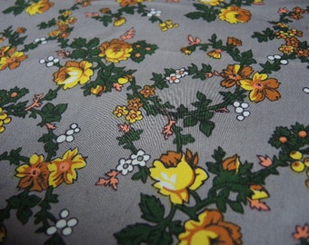 Vintage 1950s soft cotton sateen fabric small print floral yellow flowers on gray