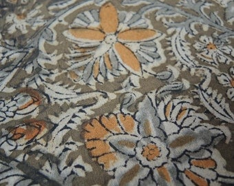 Vintage cotton batik print olive and mustard colored  3 yards 5 inches 46 inches wide