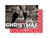 Merry Christmas Overlay Photo Card   2 Color Choices   Merry Christmas   Happy Holidays   Printable OR Professionally Printed   5x7