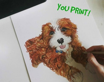 One Pet. Custom PRINTABLE watercolour Pet Portrait. Digital File Only. Custom Pet Portrait from photo.Printable Wall Art.Pet memorial Art