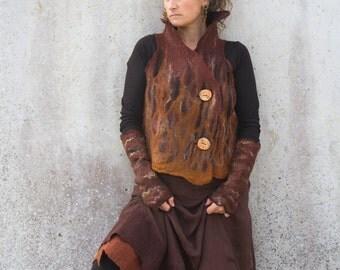 Earthy brown felt waistcoat ~ Woodland pixie ~ Nuno felt vest ~ Elfnfelt