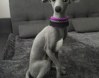Custom Pet Portrait / Italian greyhound  /Needle felted wool doll lifesized dog /
