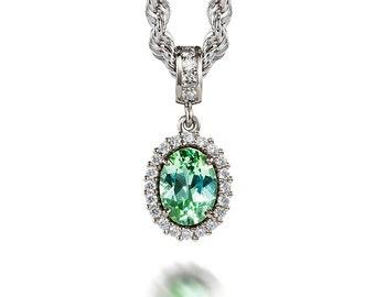 Oval cut Green tourmaline and diamond halo necklace, white gold, diamond pendant, green, tourmaline necklace, nickel free, anniversary
