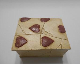 Vintage Lidded Box--Hand Painted Hearts--Plaster Box (18-B)