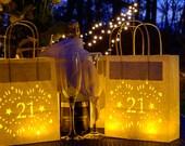 21st, 30th 40th 50th birthday decor, luminarias, party lantern bags