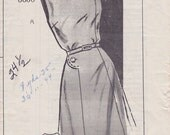 FF 40s, Size 24-1/2 Woman's Sleeveless Dress with Buttoned Shoulder & Side Button Vintage Mail Order Pattern - Bust 45, Unprinted