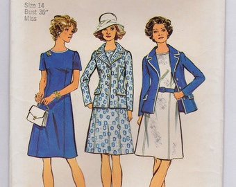 """FF 70s Size 14, Misses' Dress and Jacket """"Look Slimmer"""" Vintage Sewing Pattern - Simplicity 6214 - Bust 36 UNCUT"""