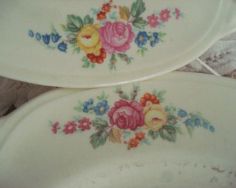 Vintage Wedding Dessert Plates Homer Laughlin Bread Butter Plates Pink Rose Shabby Chic Set of 2 Vintage Bridal Shower