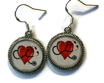 Doctor Nurse Medical Earrings Heart Jewelry Stethoscopes Silver Picture Round