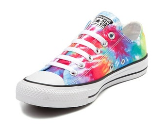 Children's Converse Toddler Youth Canvas Tie Dye Rainbow Pride Low Top w/ Swarovski Crystal Rhinestone Chuck Taylor All Star Sneaker Shoe