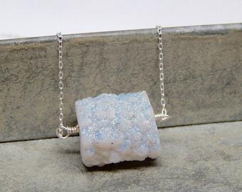Long raw sterling silver druzy necklace - white boho druzy jewelry - iridescent druzy