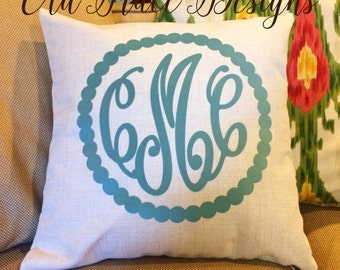 Monogram Dotted Border Personalized Linen Blend Pillow Cover One or Three Initial Letters