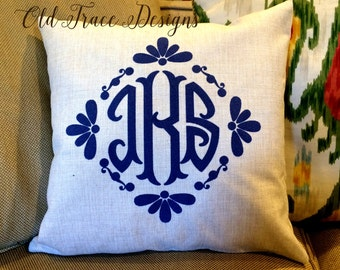 Monogram Flourish Floral Border Personalized Linen Blend Pillow Cover One or Three Initial Letters