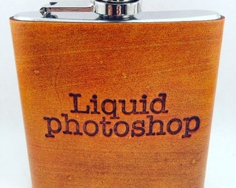 Custom Leather Hip Flask Liquid Photoshop Quote, Gift for him, Mens Flask, 6oz flask, Groomsmen gift, groom gift