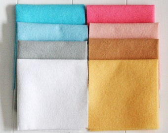 Felt Craft Pack - Candy Cart, Pack of Craft Felt, Eight Pieces 23cm x 23cm Wool Blend Felt Squares