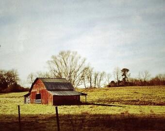 Red Barn Photograph Rural Farm Photography Autumn colors Photo Print Roadside Photograph