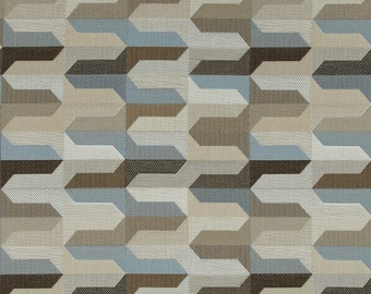 Taupe Blue Geometric Upholstery Fabric - Indigo Blue Woven Furniture Fabric - Modern Taupe Fabric - Custom Brown Blue Geometric Pillows