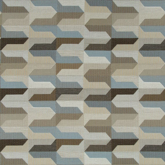 Taupe Blue Geometric Upholstery Fabric Indigo Blue Woven