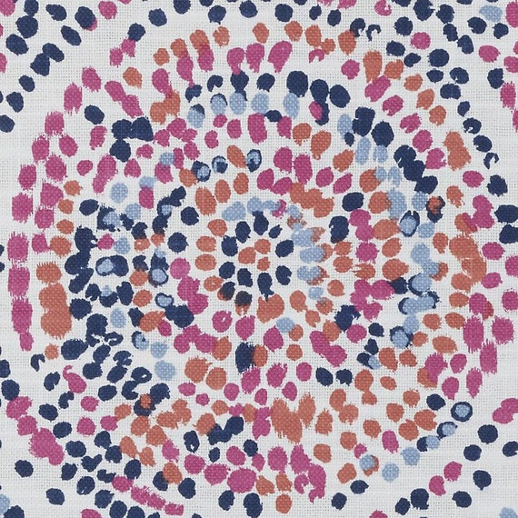 Navy Blue Orange Upholstery Fabric Pink Orange Splatter