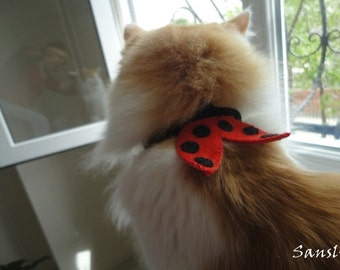 Cat collar-adjustable collar-custom collar-crochet cat collar-cat accessories-ladybug-Adjustable cat collar red with Bell
