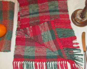 """Rag Table  Runner  , Christmas....Red  and Green. 42"""" X 12"""" , Hand Woven by  Me"""