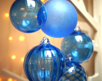 Mini Sapphire Blue, Handmade, Blown Glass Christmas Bauble