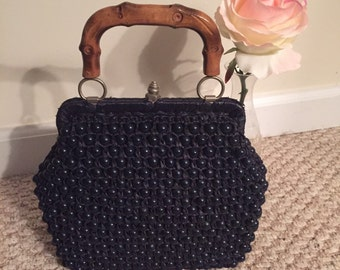 Adorable navy blue beaded vintage bag