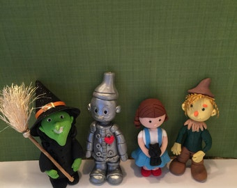 Polymer clay Wizard of Oz inspired figurines, handmade,Polymer clay figurines, cake toppers,children,kids.
