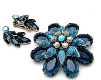 Big Plastic Vintage Lucite Brooch & AB Rhinestone Earrings Married Demi Parure Set