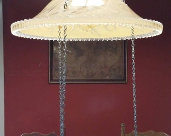 Vintage upcycled lamp shade silver tray bird feeder repurposed