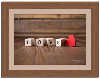 Love Letters On Dice With Heart Love Photographic Print - Various Sizes - Gift Idea