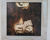 Woodburn, Pyrography Girl with Daisies dark background, framed art, original art