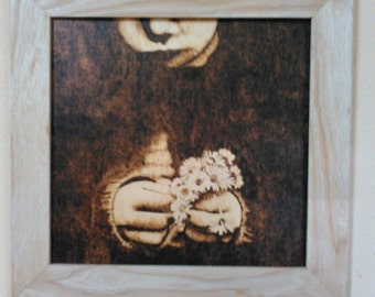 Woodburn, Pyrography Girl with Daisies dark background, framed original art Daises burned on wood