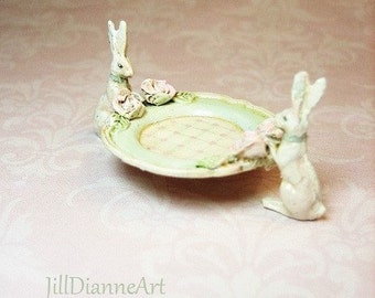 Ready Send - French Cottage Shabby White Rabbits Mint Green w Sculpted Rose Tray Dish - handpainted Jill Dianne Dollhouse Miniatures