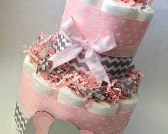 Pink and Grey Elephant Diaper Cake, Baby Shower Centerpiece, New Baby Gift, Baby Girl Baby Shower, Pink and Grey Baby Shower, Decoration