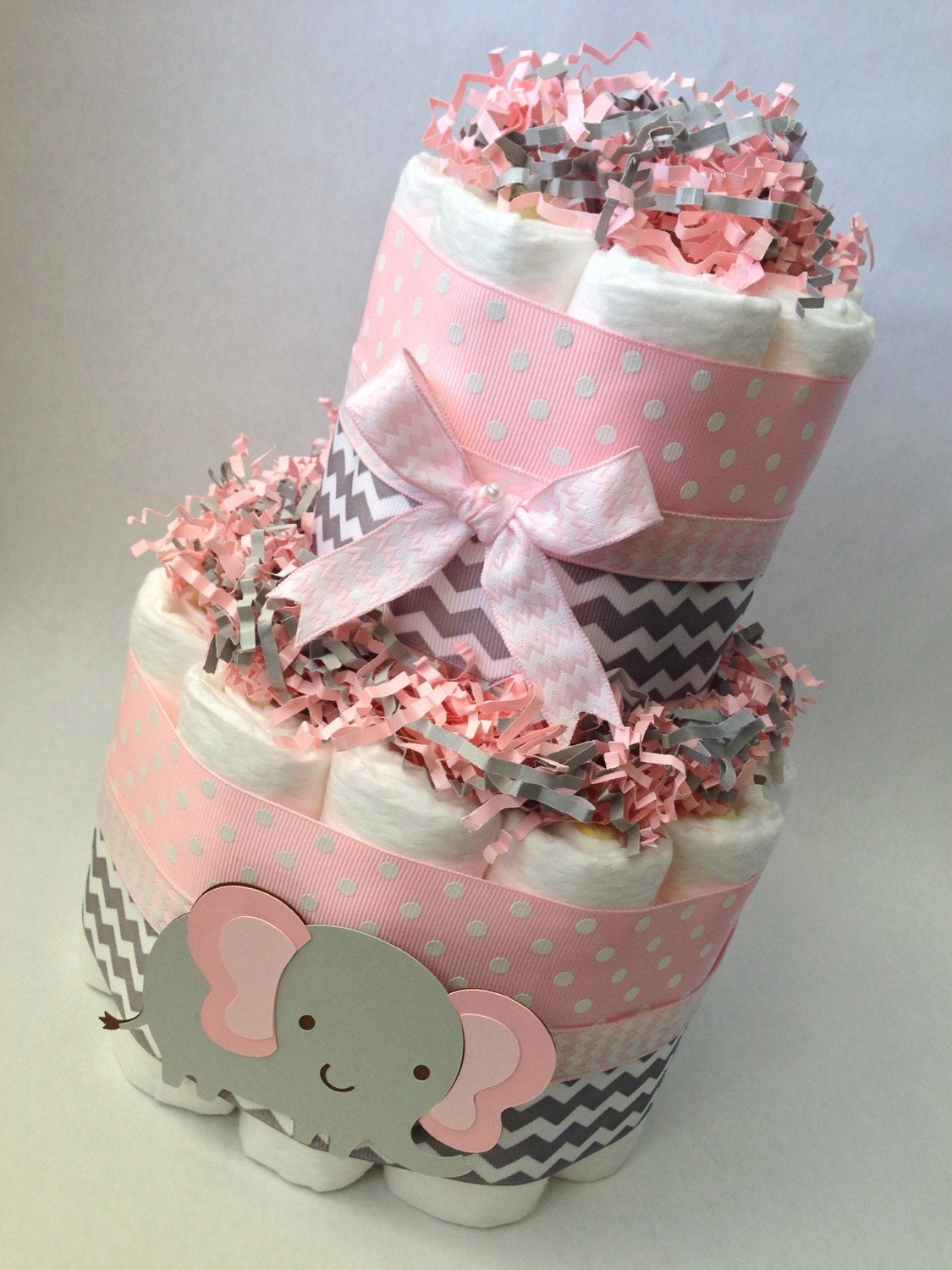 Pink and grey elephant diaper cake baby shower centerpiece