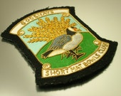 Vintage 1950s  / 1960s indoor short mat bowls club fabric patch / cloth badge - Prize, award Gooshays, goose bird, metal embroidery