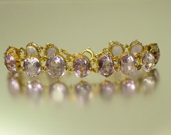 Antique/ estate 1800s Victorian, gilt metal and real purple amethyst, gem stone, semi precious bracelet - jewelry jewellery