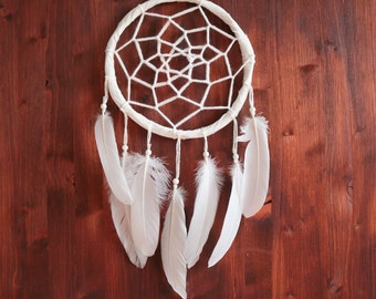 Dream Catcher - With White Handmade Web and Pure White Feathers - Boho Home Decor, Nursery Mobile